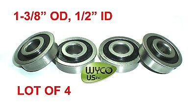 Lot Of 4 Flanged Bearings 1-38 Od X 12 Id Carts Shelves Other Projects