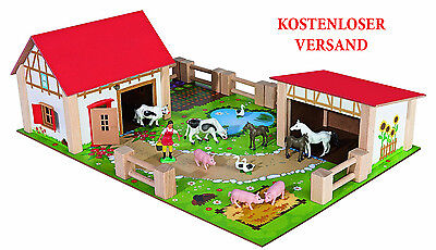 Eichhorn Holz-Bauernhof Holzspielzeug Kindergarten Kinder Tiere Kinderspielzeug