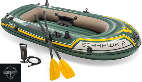 Intex Seahawk 2, 2-Person Inflatable Boat Set w/ French Oars & Air Pump IN HAND