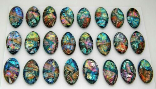 OVAL MULTI COLORS 24 pcs DICHROIC FUSED GLASS pendant earrings (G7) CAB MOSAIC