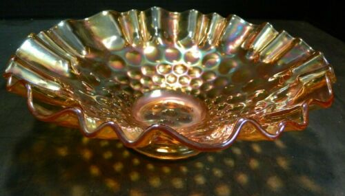 """Vintage Iridescent Marigold Ruffled Edge Carnival Glass Bowl 2.75"""" x 9"""" Excell"""