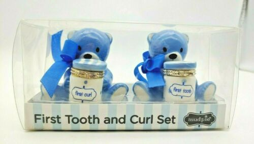 MUD PIE Baby Boy First Tooth and Curl Ceramic Set Blue Bears with Trinket Boxes