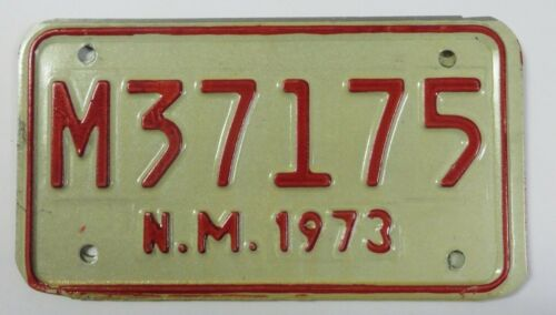 Vintage 1973 NEW MEXICO Motorcycle License Plate Tag #M37175 NM