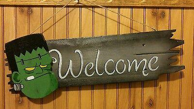 NEW FRANKENSTEIN WELCOME SIGN 3D  HALLOWEEN FALL HARVEST Handcrafted ](Halloween Welcome Sign)