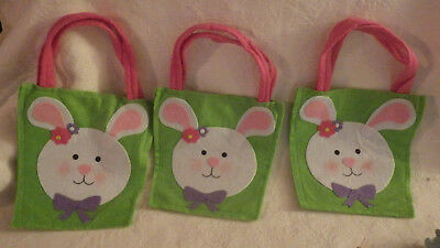 "Lot of 3 Easter Bunny Rabbit Tote Bag Fabric 12"" Tall Nwot"