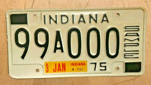 """JAN 1975 INDIANA  SAMPLE AUTO LICENSE PLATE """" 99 A 000 """" IN 75  000000"""