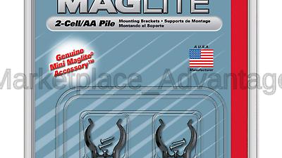 Maglite Black Mounting Brackets for AA Mini, 2 pk