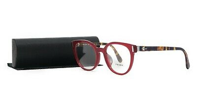 Prada Women's Red Brown Glasses with case VPR 06T ACB-1O1 (Red Pradas)