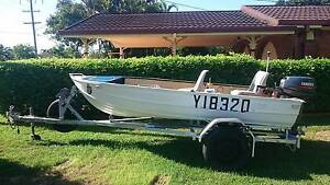 ALLUMINIUM BOAT with MOTOR on TRAILER Flinders View Ipswich City Preview