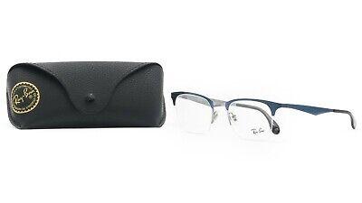 Ray-Ban Unisex Semi-Rimless Blue/Silver Glasses with case RB 6360 2863 (Ray Ban Rimless Prescription Glasses)