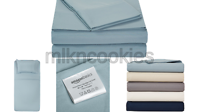 AmazonBasics Microfiber Bed Sheet Set - Twin XL, Spa Blue 1-