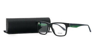 PRADA Women's Black Green Glasses with case VPR 16R 1AB-1O1 51mm