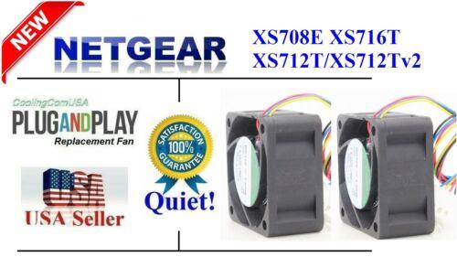 **Quiet** version 2x new replacement fans for Netgear XS712Tv2 XS712T XS716T