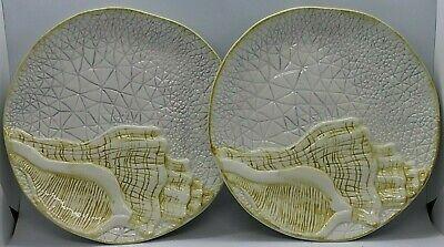 Cracker Barrel White Ceramic Seashell Plates set of 2 - Seashell Plates