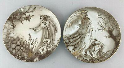 C105 Pair Sammel-Porzellan Plate Kahla Thuringia Undine Gold Uninstall Kor