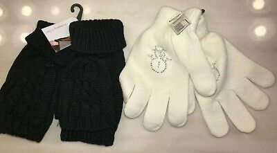 Back Mittens - 2 pair NEW NWT WOMENS GLOVES white SNOWMEN black flip back mittens ONE SIZE FITS