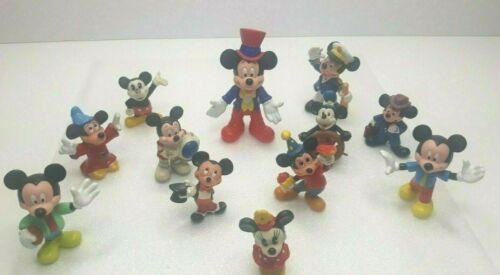 "VINTAGE LOT of 12 Walt Disney Mickey Mouse Rubber Figures (2"" & 3"")"