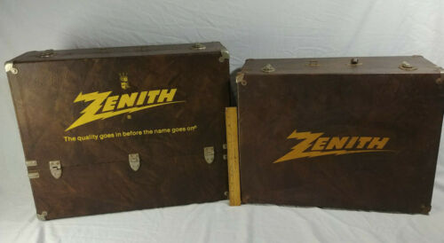 Set Of 2 Vtg Zenith Tube Radio Carrying Cases Repair Service Tool Box Double