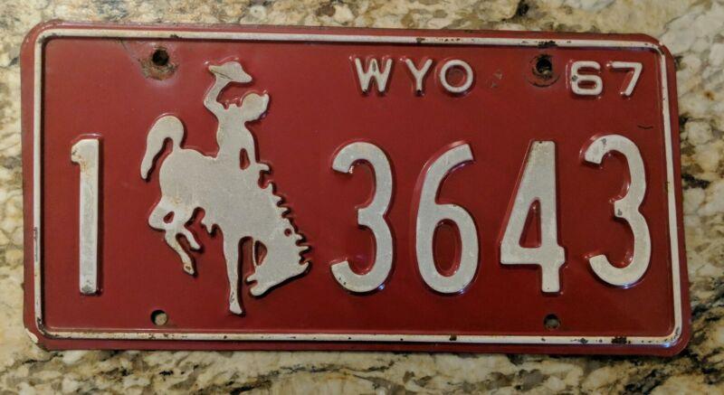Original 1967 Wyoming License Plate