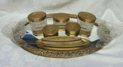 Vintage 1926 Vanity Dresser Set Mirror Tray Powder Trinket Boxes Nail Buffer