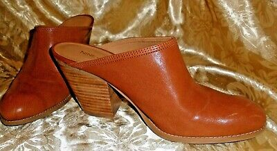 NINE WEST LT BROWN LEATHER Loafers Clogs WESTERN Mules SHOOTIES  SZ 10 M
