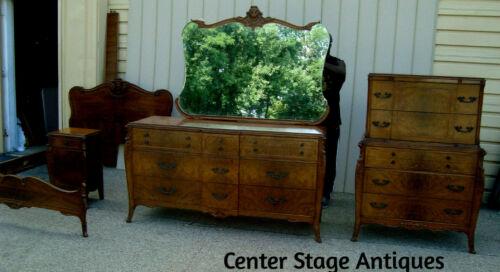 00001 Antique Bedroom  Set Full Bed High Chest Dresser w/ Mirror & Nightstand