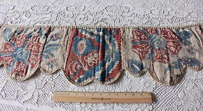 French 18thC Antique HandBlocked Indigo & Red Toile de Rouen Valence Fabric