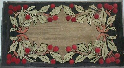 Antique Hooked Mat Rug Holly Leaves & Berries 53