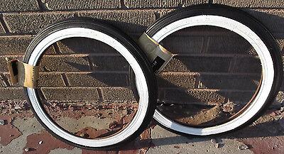 PAIR Schwinn Midget Krate Pixie Runabout 16 Inch S 7 White wall Tires sting ray