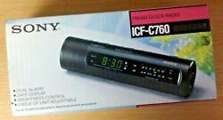 Vintage Sony ICF-C760 FM/AM Clock Radio Dual Alarm (Black) Warehouse Find - NEW