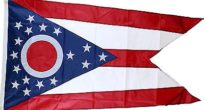 State of Ohio Flag 3'x5' Double Sided, Embroidered