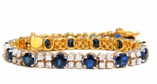 10ct Natural Blue Sapphire 2.50ct Diamonds Bracelet 14kt
