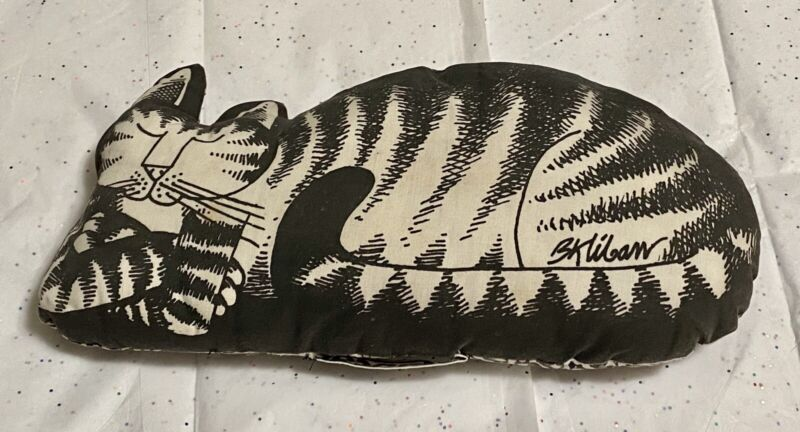 Vintage B. Kliban Black & White Striped Cat Loaf Napcat Decorative Kitty Pillow