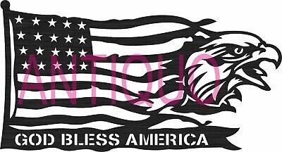Dxf Svg Files Of Plasma Laser Cut Router - God Bless America - Eagle Usa Flag