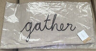 """NIP Pottery Barn Thanksgiving Sentiment Embroidered Pillow Cover Gather 12""""x24"""""""