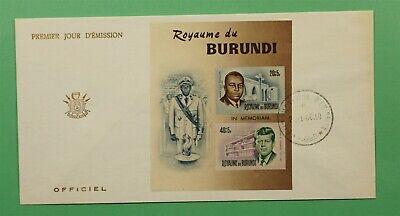 DR WHO 1966 BURUNDI FDC LOUIS RWAGASORE + JFK SEMIPOSTAL IMPERF S/S C241254