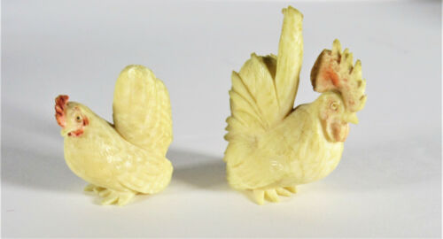 Two Vintage Miniature Japanese Okimono Carved  Rooster and Chicken