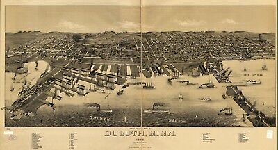 A4 Reprint of American Cities Towns States Map Duluth Minnesota