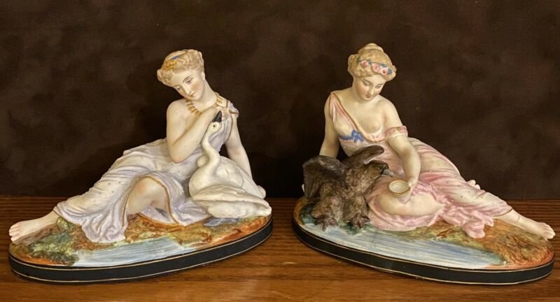 Antique French Letu Mauger Pair Of Bisque Figurines Of Goddesses Rare