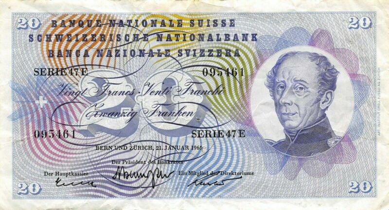 Switzerland  20  Francs  21.1.1965  Series  47 E  Circulated Banknote LB5