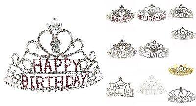 Happy Birthday Pink/Clear Crystal Rhinestone Birthday Tiara Crown Headband (Happy Birthday Tiaras)