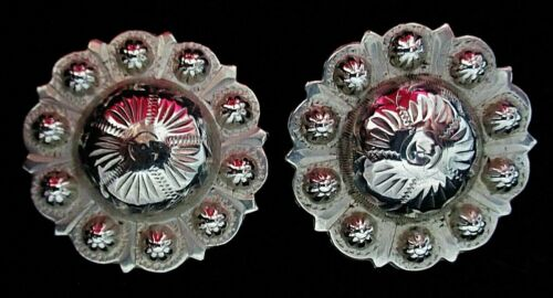 2 Real STERLING marked vintage MEXICO Berry Pica Edge dome top Conchos-Set of 2