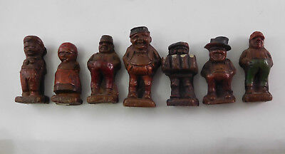 Vtg Lot Plastic Faux Wood German Man Woman Stein Figures Figurines Doll House