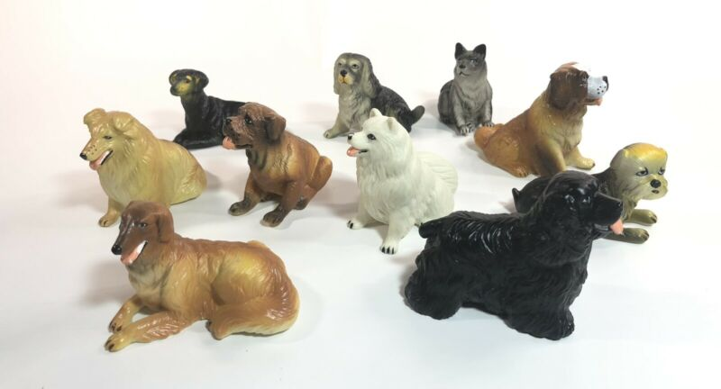Vintage Rubber Plastic Dog Toy Figures Lot of 10 Mixture Of Dog Breeds New Ray