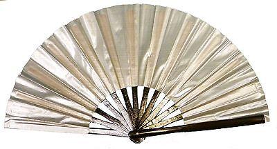 Silver hand fan, Tai Chi Fan, tessen, wushu, belly dancing performance fan.