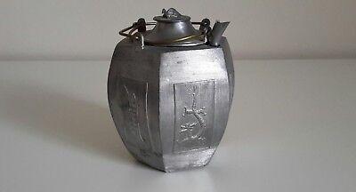 Vintage Chinese Silver Pewter Teapot, Dragon Phoenix Longevity Turtle Finial Lid