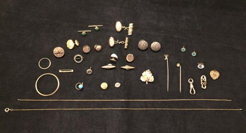 Antique Edwardian Enamel Repousse Jewelry Watch Part Cufflink Lot 33 Pieces