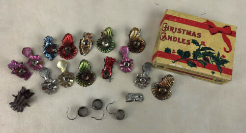 antique CHRISTMAS TREE CANDLE HOLDERS & SOCONY OIL BOX