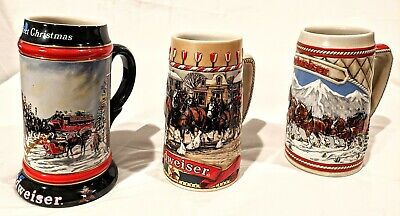 3 Budweiser Beer Stein mug A/B SERIES LIMITED Ed CLYDESDALES Christmas ANHEUSER