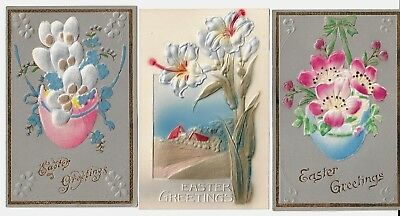 3 Vintage Easter Postcards:Embossed & 2 w/soft material.Eggs,Flowers Germany EXC